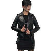 Black on Black Star Vegan Leather Motorcycle Jacket