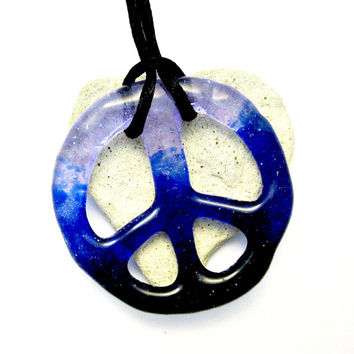 Fused Glass Peace Sign Pendant - Order in Your Colors Peace Sign Necklace