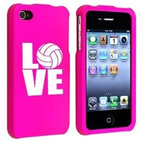 Amazon.com: Apple iPhone 4 4S Hot Pink Rubber Hard Case Snap on 2 piece Love Volleyball: Cell Phones & Accessories