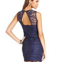 As U Wish Juniors Dress, Sleeveless Lace Cutout Bodycon