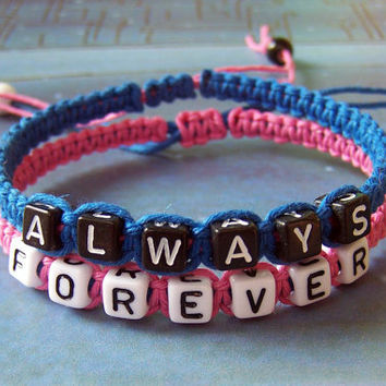 Couples Bracelet 140:Wedding Gift, Boyfriend Girlfriend Jewelry, ALWAYS FOREVER Bracelet, Anniversary Gift
