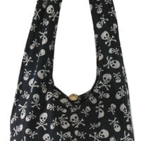 Black Cotton Printed Skull Crossbody Shoulder Hippie Boho Hobo Messenger Bag Goth Punk Purse PK01