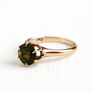 Antique 10k Rose Gold Green Tourmaline Solitaire Ring - Vintage Size 5 Edwardian 1900s Green Genuine Gemstone Fine Allsop Jewelry