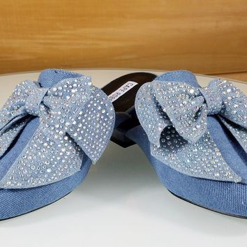 CR Med Wash Denim Flats Mules Clog Slipper Shoe Bow Detail With 989eab4a7