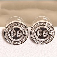 GUCCI New Fasshion Diamond Round Earring Women Silver