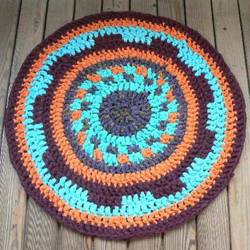 orange blue coloured DIY Crochet Round Rag Rug  mat carpet bath mat outdoor Eco friendly