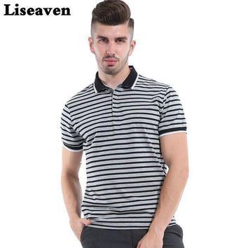ESBON Liseaven 2017 Men Striped polo shirt solid Tops Tees Shirt Summer Casual Clothing Cool Tee Camisa Polo Masculina