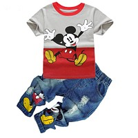 Children's Clothing Set 2017 Autumn Summer Baby Girl Boys Sport Cartoon T shirt Jeans Trousers Clothes For 2 3 4 5 6 7 Years Old