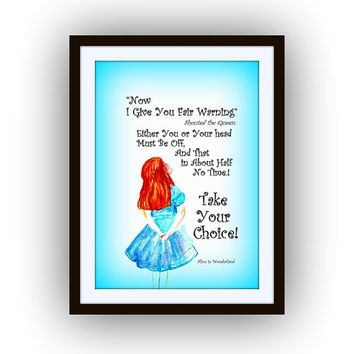 Alice in wonderland, Take your choice Quote, Printable Movie Wall art decor, picture decals, watercolor painting decors, Disney decal, blue