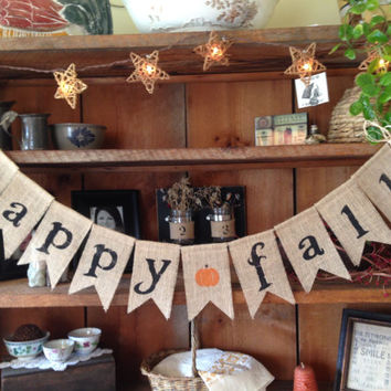Happy Fall Burlap Bunting, Fall Bunting, Autumn Garland, Pumpkin Banner, Autumn Bunting, Fall Bunting, Autumn Wedding Decor