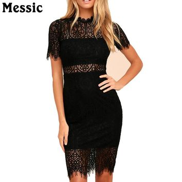 2018 Women White Lace Pencil Dress Short Sleeve Party Dresses Bodycon Work OL Dress Vestidos Elegant Classic Vintage Robe Femme