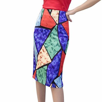 High Waist Skirts Womens Fashion Print Boho Style Chic Slim Pencil Skirt Female Vintage Sexy Midi Skirt