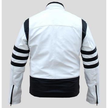 Leather Skin White Men with Black  Patches Genuine Leather Jacket