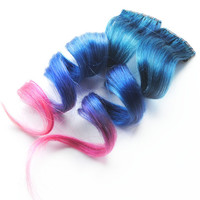 Human Hair Extension, Spring extension hair, extension, blue, pink clip in hair, Tie Dye Colored Hair - Lucky Stars