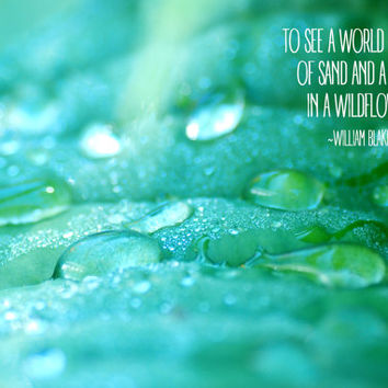 Inspirational Quote, Motivational Art, Digital Download Photograph, Typography Art, William Blake, Water Droplets, Literary Quote, Teal
