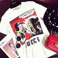 GUCCI New fashion graffiti letter print women top t-shirt White