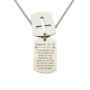 Mens Scripture Double Tag Necklace - Psalm 18:32-33