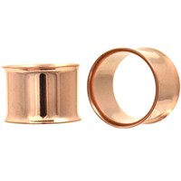 """Rose Gold Plated Double Flared Tunnels Plugs (8g-1"""")"""