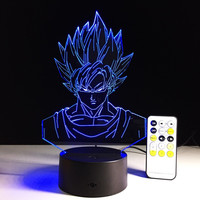 7 color Super Saiyan Goku 3d LED lamp with remote