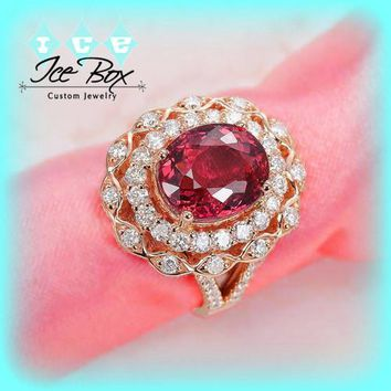 Vintage Engagement Ring 2.5ct Cerise Tourmaline Fancy Diamond Double Halo