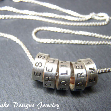 Hand stamped name charm necklace with kids names sterling silver mommy