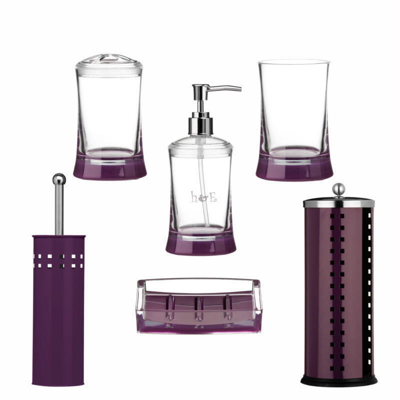 Purple bathroom accessories tumbler soap from for Full bathroom accessories set