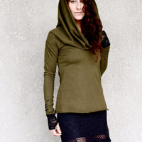 Nomad Cowl Neck Top / Long Sleeves / Thumb Hole / Gypsy, Elven, Fairy , Bohemian Princess