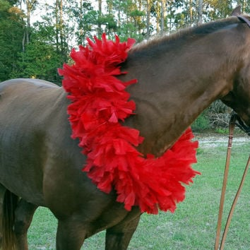 Red Feather Boa Equine Necklace - Red Feather Horse Breast Collar - Horse Necklace - Christmas Horse Costume, Equine Costume