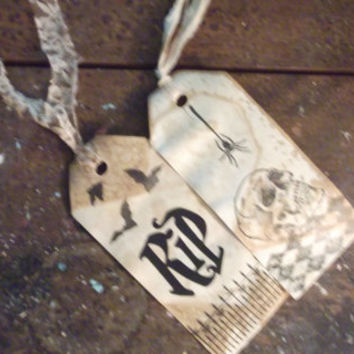 RIP Spooky Creepy Halloween Wedding Birthday Gift Tags with Bats Skull Spider and Iron Gate
