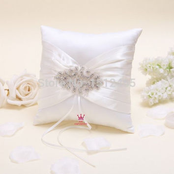 Free shipping,New arrived Beads crystal Ivory Satin Wedding Ring Pillow Wedding Decorations Stuff Accessories JZ46