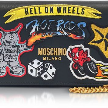 Moschino Black Leather Wallet Clutch w/Patches