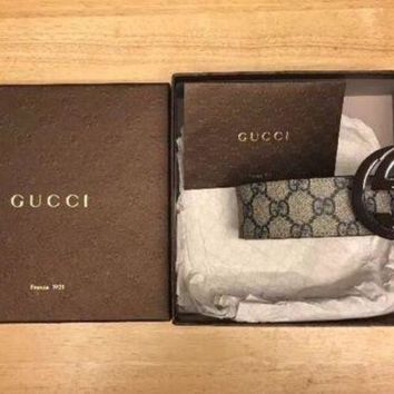 DCCKIN2 Brand New Gucci Interlocking GG Beige/Blue Men's Belt 110cm W/ Receipt And Box