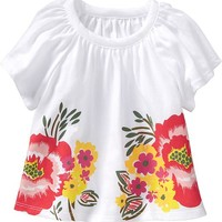 Flutter-Sleeve Floral Tees for Baby