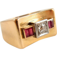 """Solid gold and platinum Deco """"bridge"""" ring, stamped 18K old European cut diamond and red paste Fine gold jewelry"""