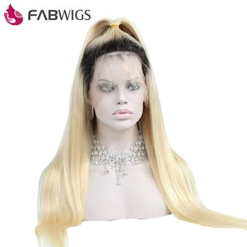 Fabwigs Silky Straight Full Lace Human Hair Wig with Baby Hair Pre Plucked Ombre 1B 613 Blonde Lace Wigs 130% Density Remy Hair