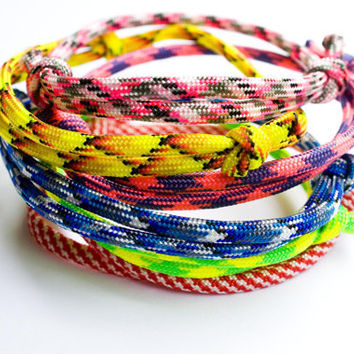 Paracord Bracelets - Set of 3 - Adjustable Knot  Colorful Bracelets Rope Neon