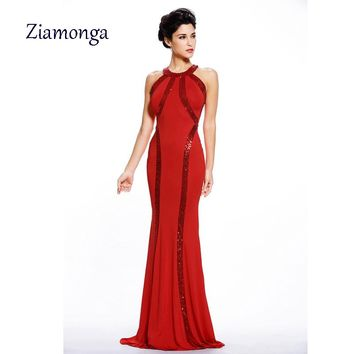 2017 Elegant Dress Women Sequin Trim Red Black Blue Jersey Gown Summer Style Sexy Long Dress Sheer Clubwear Vestido De Festa