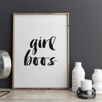 GIRL BOSS feminist quote printable quotes inspirational poster motivational poster word art watercolor prints room decor home decor print