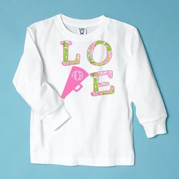 'Love to Cheer' Monogrammed White  Long Sleeve T-Shirt
