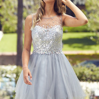 G2046 Sequin Jeweled High Neck Homecoming Cocktail Dress
