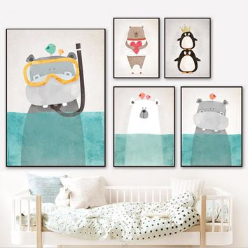 Watercolor Hippo Bear Penguin Nordic Posters And Prints Wall Art Canvas Painting Wall Pictures For Kids Room Quadro Home Decor