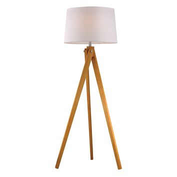 D2469 Wooden Tripod Floor Lamp in Natural Wood Tone