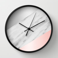 Pink Grey and Marble Collage Wall Clock by Cafelab