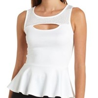Rhinestone-Studded Cut-Out Peplum Top by Charlotte Russe - White
