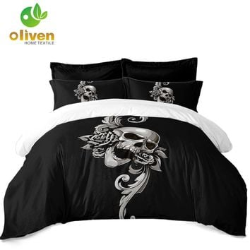 Sugar Skull Bedding Set Black Silver Flower Print Duvet Cover Set King Queen Quilt Cover Pillowcase Soft Bedclothes 3Pcs D25