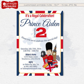 London Birthday Invitation, Printable Royal Birthday Invite Card for kids