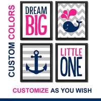 dream big nautical girl nursery art hot pink navy baby girl nursery ideas gift for girls nautical girls room decor custom girl wall art