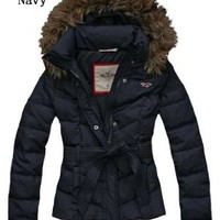 Hollister Women's Belted Down Coat size uk x-small:Amazon:Clothing