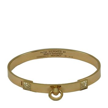 "Hermes Bracelet ""Dog Collar"" Collier de Chien (CDC) Pink Gold 48 Diamonds PM"