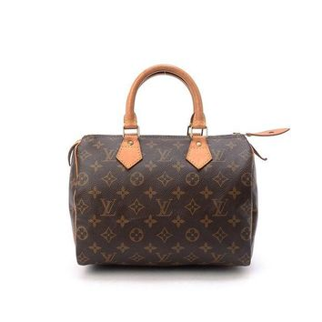 DCK4S2 Women's Authentic Louis Vuitton Speedy 25 Brown Monogram Travel Bag